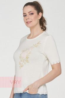 Джемпер женский 191-4946 Фемина (7002/7041 молоко/металнить золото/бледно розовый)
