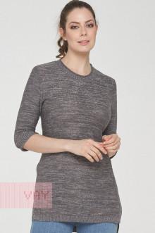 Джемпер женский 191-4902 Фемина (Светло-серый/серый/металнить сильвер)