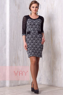 Платье женское 3146 Фемина (Синий-серый калейдоскоп/гипюр черный)