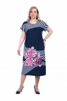 """Платье """"Олси"""" 1605047 ОЛСИ (Синий темный/цветы)"""