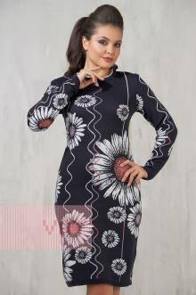 Платье женское 2210 Фемина (Мокрый асфальт/темная сирень/белый/темный клевер)