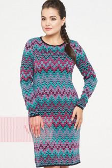 Платье женское 2317 Фемина (Темно-синий/клевер/яркая бирюза)